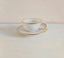 Gilt cup on white marble by paulgrand