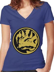 Triceratops Coin Women's Fitted V-Neck T-Shirt