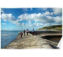 Walking The Cobb Wall ~ Lyme Regis Poster