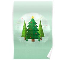 Abstract Geometric Christmas Trees Poster