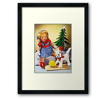 Knitted out for Christmas - Vintage Retro Card Framed Print
