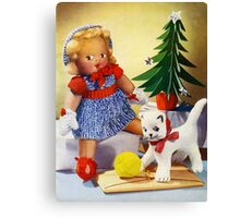 Knitted out for Christmas - Vintage Retro Card Canvas Print