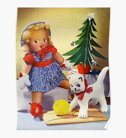 Knitted out for Christmas - Vintage Retro Card Poster