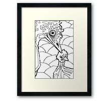 Emu, coloring book page Framed Print