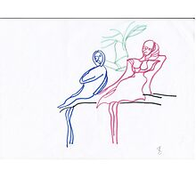 Women on a bench Photographic Print