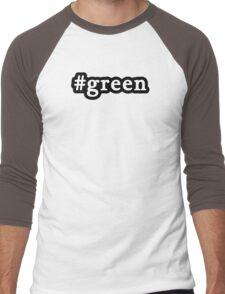 Green - Hashtag - Black & White Men's Baseball ¾ T-Shirt