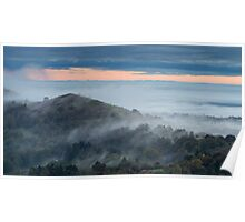 Rising through the Mist, Malvern Hills, Worcestershire Poster