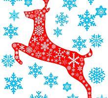 Christmas red reindeer and snowflakes by nadil
