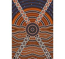 An illustration based on aboriginal style of dot painting depicting secret Photographic Print
