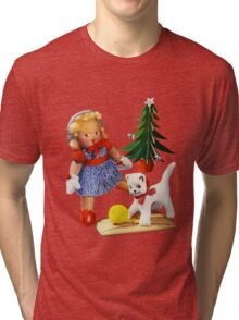 Knitted out for Christmas - Vintage Retro Tee Tri-blend T-Shirt