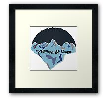 I'd Rather Be Skiing - Blue Framed Print