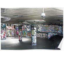 Graffiti covered skateboard park on the southbank, London Poster