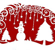 swirly snowman - dark red by MrsTreefrog