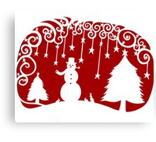 swirly snowman - dark red Canvas Print