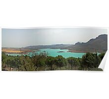 Panoromic view across lakes in Andalucia, Spain  Poster