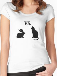 bunny vs cat  Women's Fitted Scoop T-Shirt