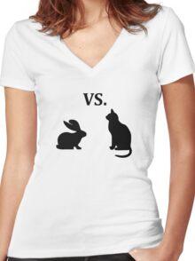 bunny vs cat  Women's Fitted V-Neck T-Shirt