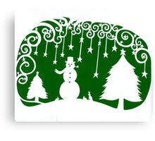 swirly snowman - green Canvas Print
