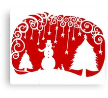 swirly snowman - red Canvas Print
