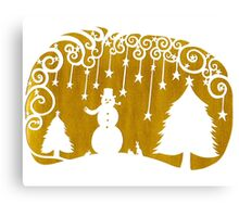 swirly snowman - gold Canvas Print