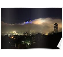 High view of Sydney city in fog at night, Australia Poster