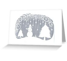swirly snowman - silver Greeting Card