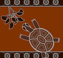 An illustration based on aboriginal style of dot painting depicting turtle by dedoma