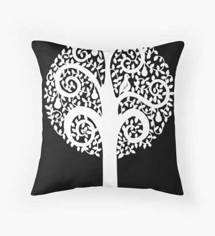 partridge in a pear tree - black Throw Pillow