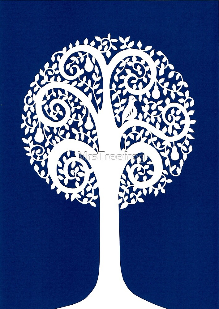 partridge in a pear tree - blue by MrsTreefrog