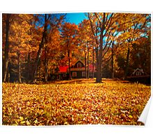 Fall Glory ~ Isolated Cottage Enveloped in Orange Foliage Poster