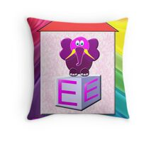 E is for Elephant Throw Pillow