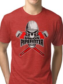 Union Pipefitter: Skull and Wrenches Tri-blend T-Shirt
