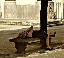 Talking and Relaxing-Bagnoregio, Italy by Deborah Downes