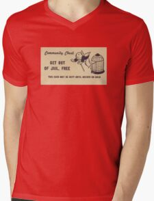 """Monopoly """"Get Out of Jail"""" Mens V-Neck T-Shirt"""