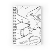 Orca, coloring book page Spiral Notebook