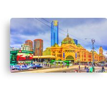 Swanston and Flinders Street Melbourne on 16 June 2015 - Melbourne, Victoria Metal Print