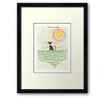 old vintage photocopy black cat kitty grunge spiral art tia knight  Framed Print