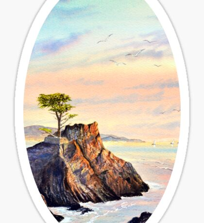Lone Cypress Tree Pebble Beach California Sticker