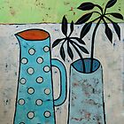 Bllue vase with a dotted jug by natasa sears