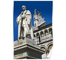 Statue of Francesco Burlamacchi, infront of Church of San Michele In Foro, Lucca, Italy Poster