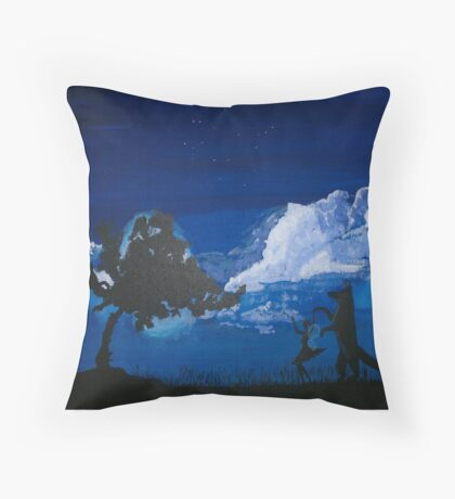 Dance me to the end of Moon light Mr Fox Throw Pillow