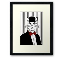 Fancy Cat with Bowler Hat and Tuxedo Framed Print