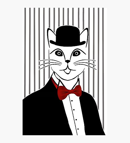 Fancy Cat with Bowler Hat and Tuxedo Photographic Print