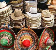 Display of Panama Hats and Sombreros, Street Market by fg-ottico