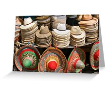 Display of Panama Hats and Sombreros, Street Market Greeting Card