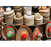 Display of Panama Hats and Sombreros, Street Market Photographic Print