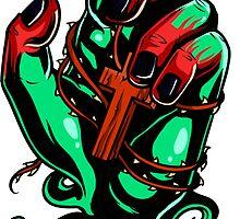 Zombie hand clutching wooden cross by headpossum