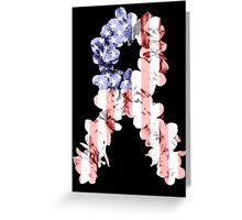 Red, White and Blue Flower Ribbon Greeting Card