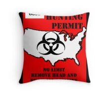 Zombie Permit Throw Pillow