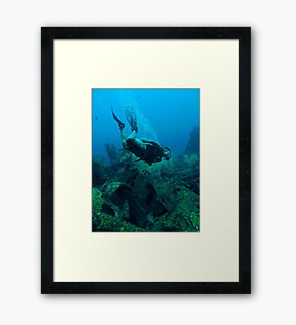 DIVER DOWN! Framed Print